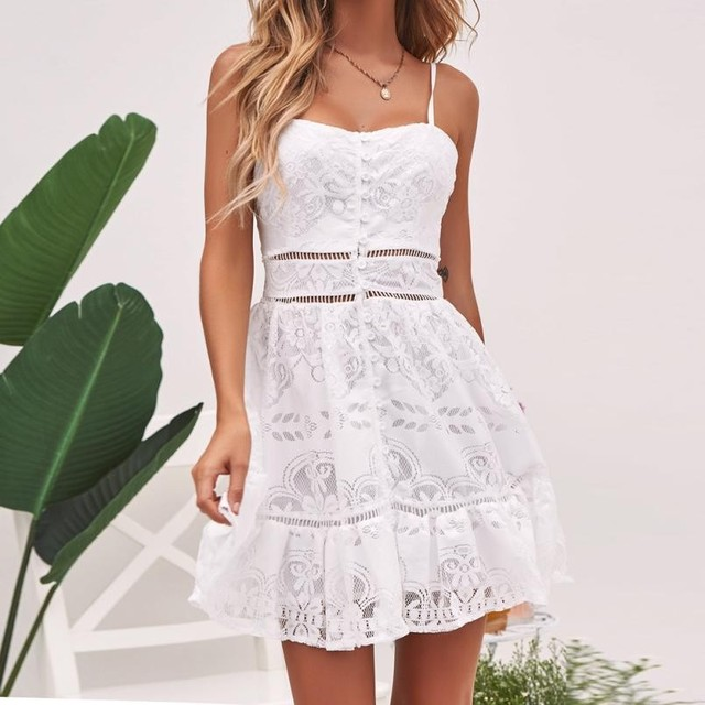 Boho hollow out lace flower dress women Elegant Ruffles Backle sleeveless white dress summer chic party sexy dress vestidos