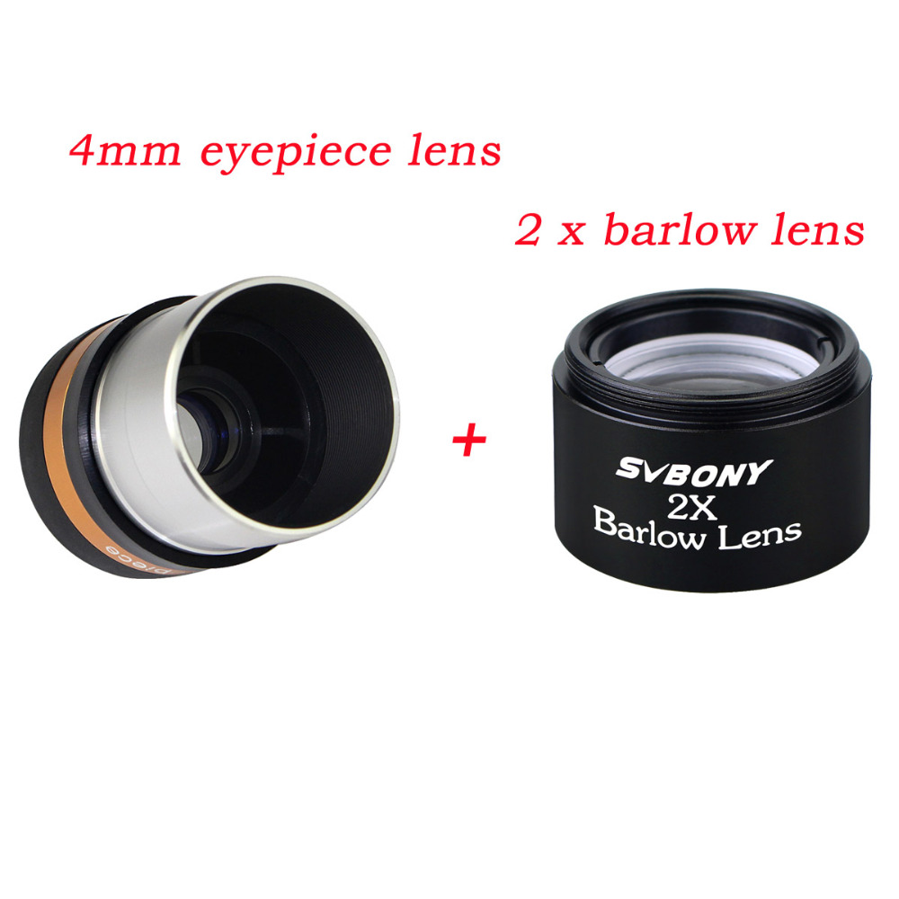 SVBONY Aspheric Eyepiece Telescope HD Wide Angle 1.25'' 62 De Eyepiece Lens 4mm+ 2x Barlow Lens For Monocular Binoculars F9301 new 2 0mp telescopes hd digital eyepiece camera st4 to usb adapter for guide star to equatorial wide angle lens