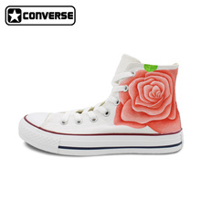 Women Sneakers Converse Chuck Taylor Original Design Pink Rose Flowers Hand Painted Canvas Shoes High Top Brand Shoe