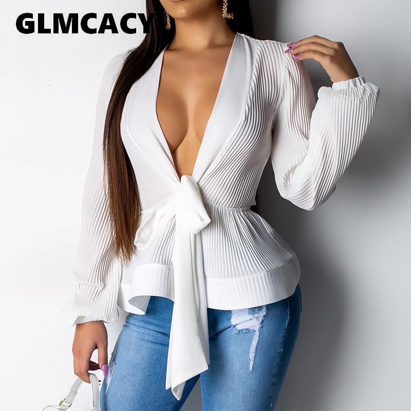 Women Elegant Puff Sleeve   Blouse     Shirt   Sexy V Neck Sashes Wrap   Blouse   Ruffles Long Sleeve Summer Tops Femme Peplum Top Blusas