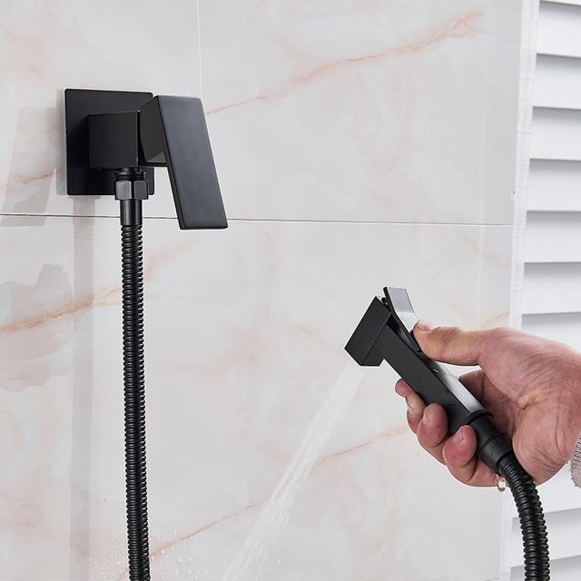 Quyanre Matte Black Bidet Shower Faucet Solid Brass Bidet Faucet Muslim Ducha Higienica Hot Cold Water Mixer Tap Toilet Faucets