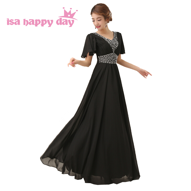 d299695838 Modesto Todo Negro rojo de dama de honor de gasa largo Novias Vestidos de  2019 dama de honor vestido fiesta vestido con mangas una línea h2258