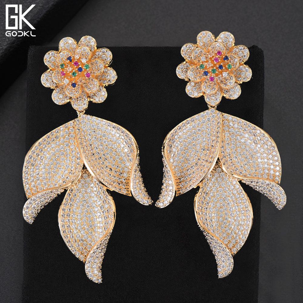 GODKI New Trendy Luxury Flower Leaf Long Dangle Earrings For Women Wedding Zirconia Crystal CZ Indian Dubai Gold Bridal Earrings pair of trendy rhinestone oval leaf earrings for women page 5