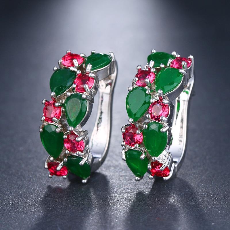 EMMAYA Wholesale Luxury Rose Gold Color Earrings Flash CZ Zircon Ear Studs 12 Colors Earrings Women Cheap brincos