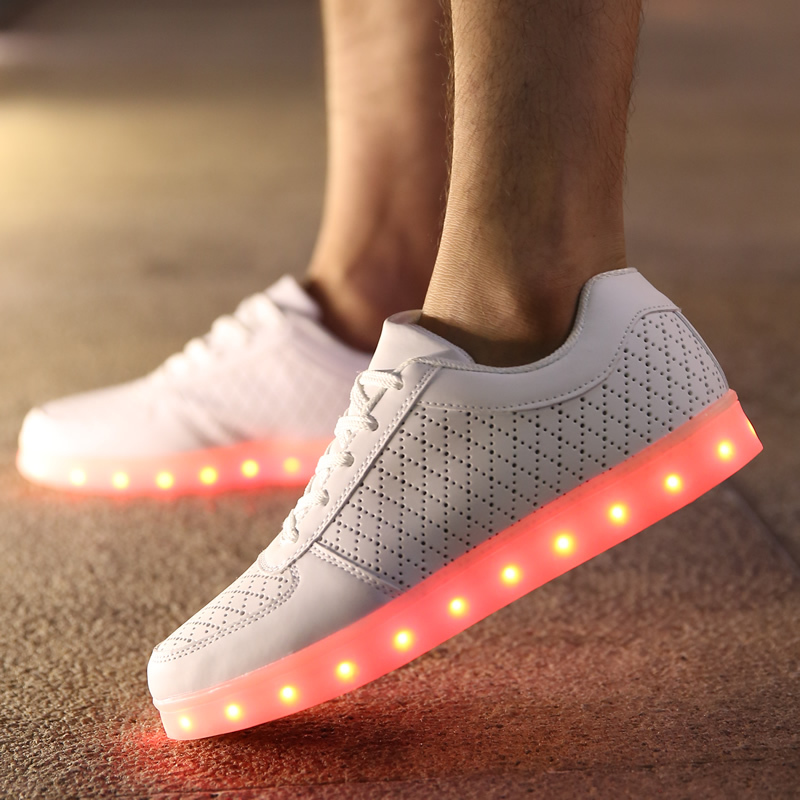 Mens Shoes Synthetic Spring//Fall Comfort//Fashion Boots//Light up Shoes Sneakers Black//Red LED Shoes