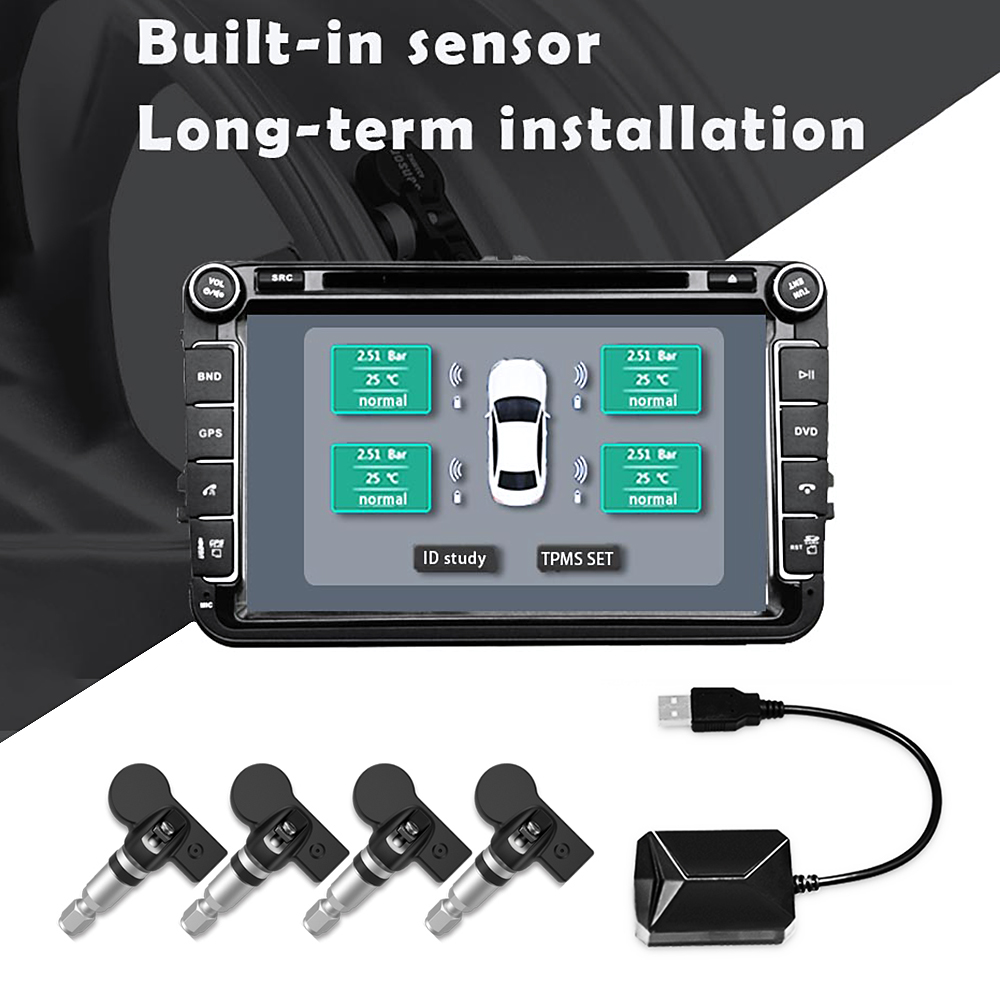 USB Car TPMS Tire pressure Monitor Alarm System Android Navigation Auto Tire Pressure Monitoring Wireless Transmission