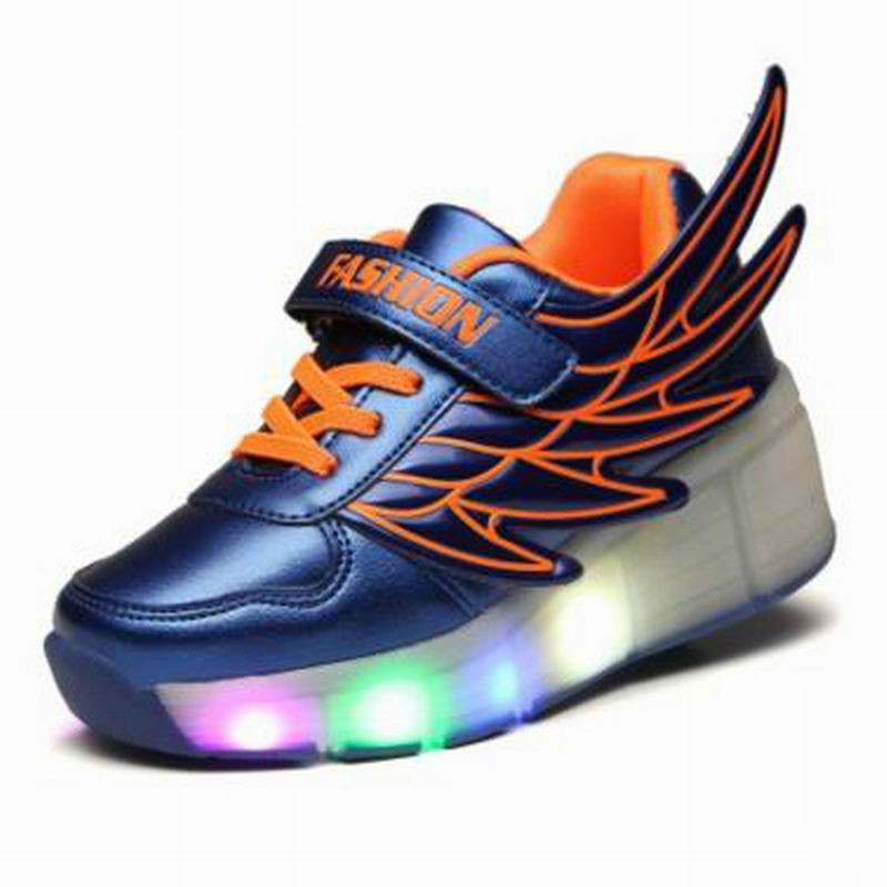 Kids Shoes Boys Led Lights Sneakers With Wheels Single Wheel Glowing Children Shoes 25 40 size usb charging basket led children shoes with light up kids casual boys