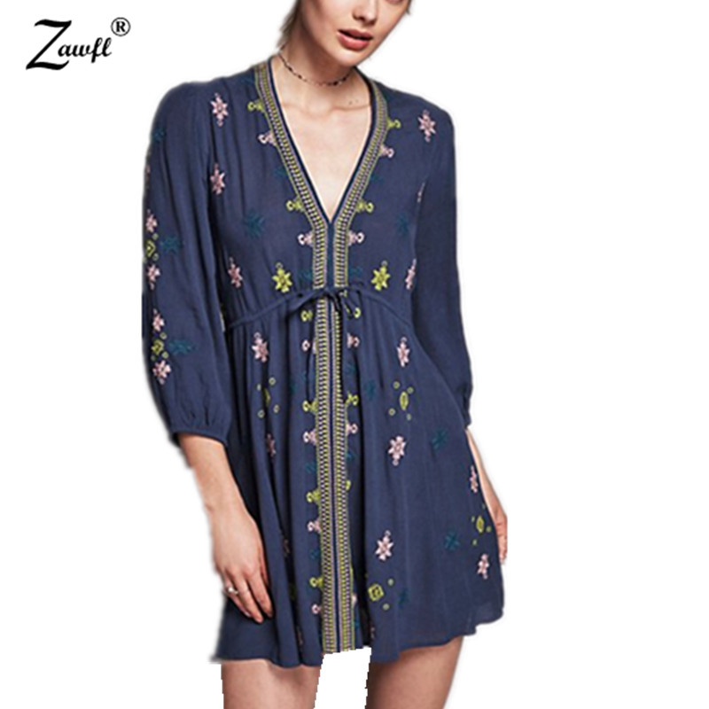 685b9d6ef1 US $23.09 23% OFF ZAWFL summer runway Women Vintage Ethnic Flower  embroidered Deep V neck Hippie Boho People Cotton Sexy Tunic Short Dress-in  Dresses ...