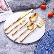 Juego de cubiertos 20 piezas de oro 18/10, juego de cubiertos de acero inoxidable, cuchillo de mesa, cuchara para cenas, tenedor, cuchara de té, juego de vajilla dorada