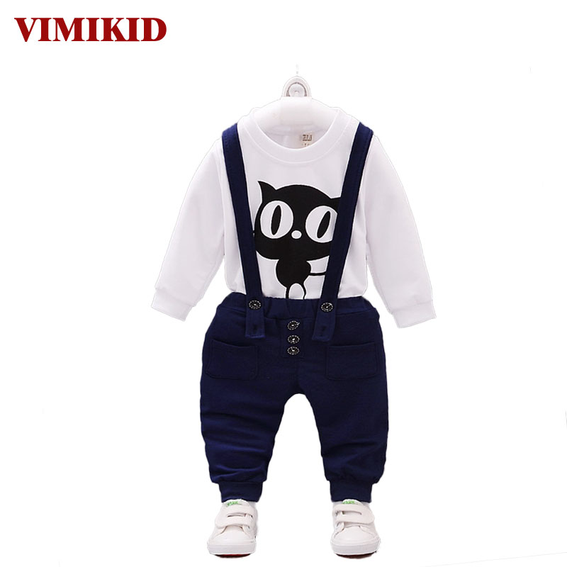 VIMIKID 2017 new Spring and Autumn baby girl and boy clothes set long sleeve o-neck Cartoon t-shirt+Straps trousers children set