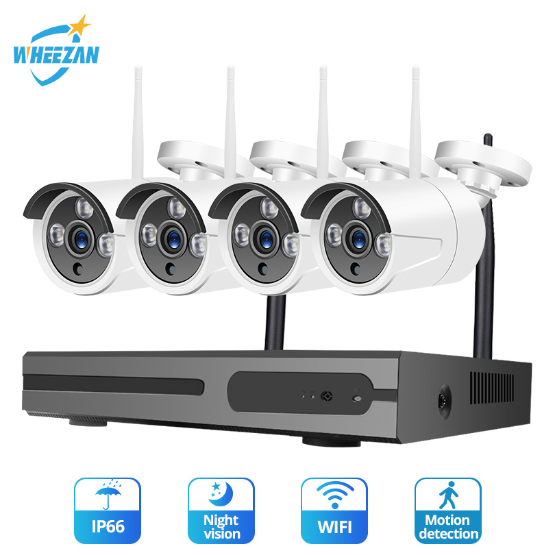 Wheezan Camera System CCTV Wifi 4CH 1080P NVR Kit Wireless Waterproof Night Vision Smart Home Video Surveillance IP Camera Set image