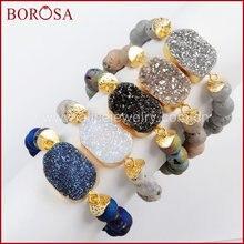 5 шт новый титановый браслет borosa золотого цвета с 10 мм бусинами