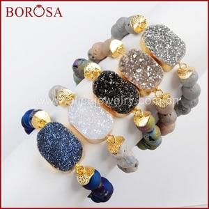 Image 1 - BOROSA 5 ピース新ゴールドカラーチタン Druzy ブレスレット 10 ミリメートルビーズ混合色のブレスレットジュエリーのための宝石バングル女性 G1536