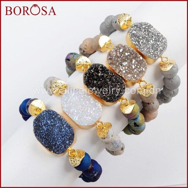 BOROSA 5 ピース新ゴールドカラーチタン Druzy ブレスレット 10 ミリメートルビーズ混合色のブレスレットジュエリーのための宝石バングル女性 G1536