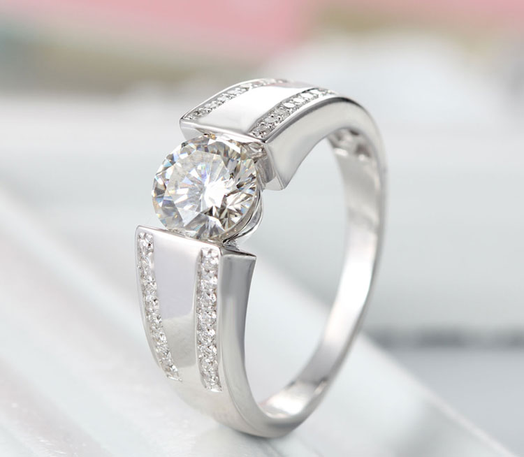 14k white gold Test Positive Moissanites For Women Lab Grown Diamond Ring