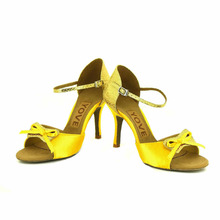 YOVE Dance Shoe Satin Women's Latin/ Salsa Dance Shoes 3.5″ Slim High Heel More Color w154-36