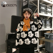 New Sweater Mickey Kawaii Women O-Neck Sweaters Winter Clothes Long Korean Style Tops Oversized Pullover Fall 2019