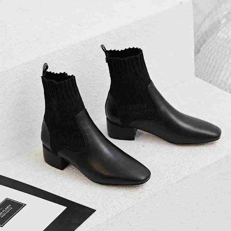 Krazing pot/красивые женские зимние сапоги из натуральной кожи на среднем каблуке с круглым носком; модные эластичные вязаные ботильоны для подиума; l57