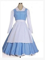 Adult princess belle anime beauty and the beast cosplay costumes blue color plus size costume bella maid dress for women cosplay