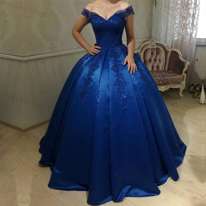 Royal Blue Satin Ball Gowns Quinceanera Dresses V Neck Off
