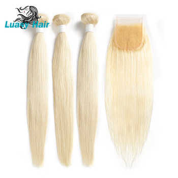 Luasy Peruvian Straight Remy Hair 613 Blonde Human Hair Bundles With Closure 4x4 Lace Closure With Blonde Hair Weave 3 Bundles - DISCOUNT ITEM  55% OFF All Category