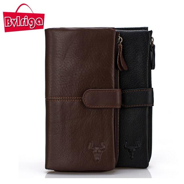 BVLRIGA Genuine leather wallet long men purse bag famous brand card holder dollar price zipper clutch bag designer high quality
