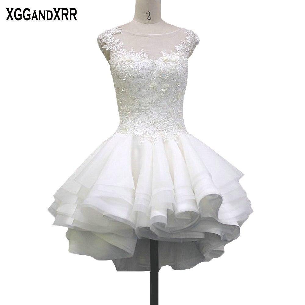 Mini Tulle Ball Gown Wedding Dresses 2017 Scoop Appliques Beaded Illusion Back Vestido De Noiva Cap Sleeves Bridal Dresses