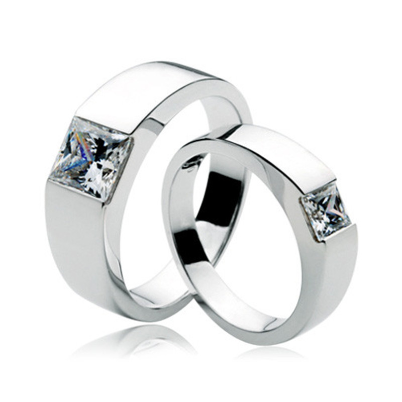 Au585 Couple Ring Jewelry 2ct Men S And 0 5ct Women S