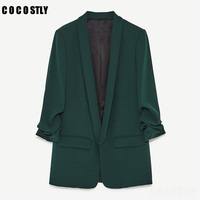 High Quality 2018 Basic Jacket Blazer Women Suit Cardigan Puff Sleeve Ladies Autunm Brand Coats Casual blazer female Office