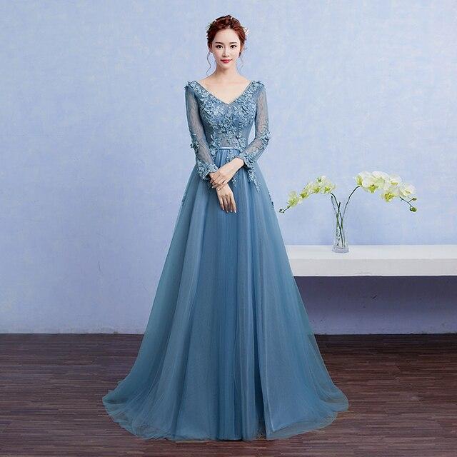 Wb618 Elegant Long Sleeve Evening Dresses Avondjurken Lange Plus