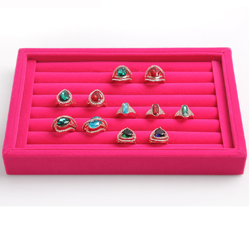 bincoco jewelry display tray velvet ring tray jewelry display case jewelry display storage box 4 colors