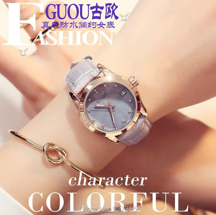 2019 New GUOU Luxury Female Watch Fashion Women Leather Band Reloj mujer Ladies Watches Women Waterproof relogio masculino
