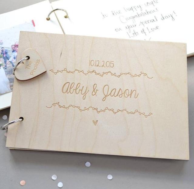 Custom Wedding Guest Book,Engraved Wooden Guest Book,Wedding Sign