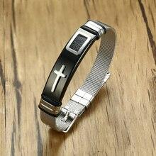 Браслет регулируемый по длине для мужчин и женщин, стильный сетчатый Браслет из нержавеющей стали для христианских молитв, крест, ювелирное изделие для мужчин
