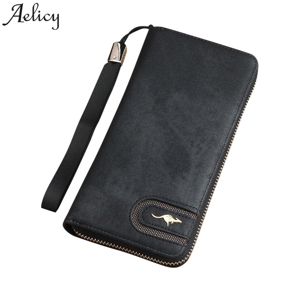 Aelicy Luxury Male Leather Purse Men's Clutch Wallets Handy Bags Business Carteras Mujer Wallets Men Black Dollar Price Carteira 2016 famous brand new men business brown black clutch wallets bags male real leather high capacity long wallet purses handy bags