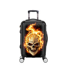 LeTrend Creative 3D Skull Rolling Luggage Spinner 28 inch Suitcase Wheels 20 inch Black Cabin Trolley High capacity Travel Bag(China)