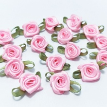 100pcs 2016 New Pink Rose Ribbon Flowers Appliques Wedding Decoration DIY Sewing Crafts Free Shipping A989