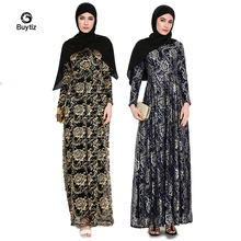 Buytiz UAE Black Navy Gold Lace Maxi Dress Boho Crepe Robe Kimono Ramadan Dubai Turkish Muslim Abaya Islamic Clothing Vestidos