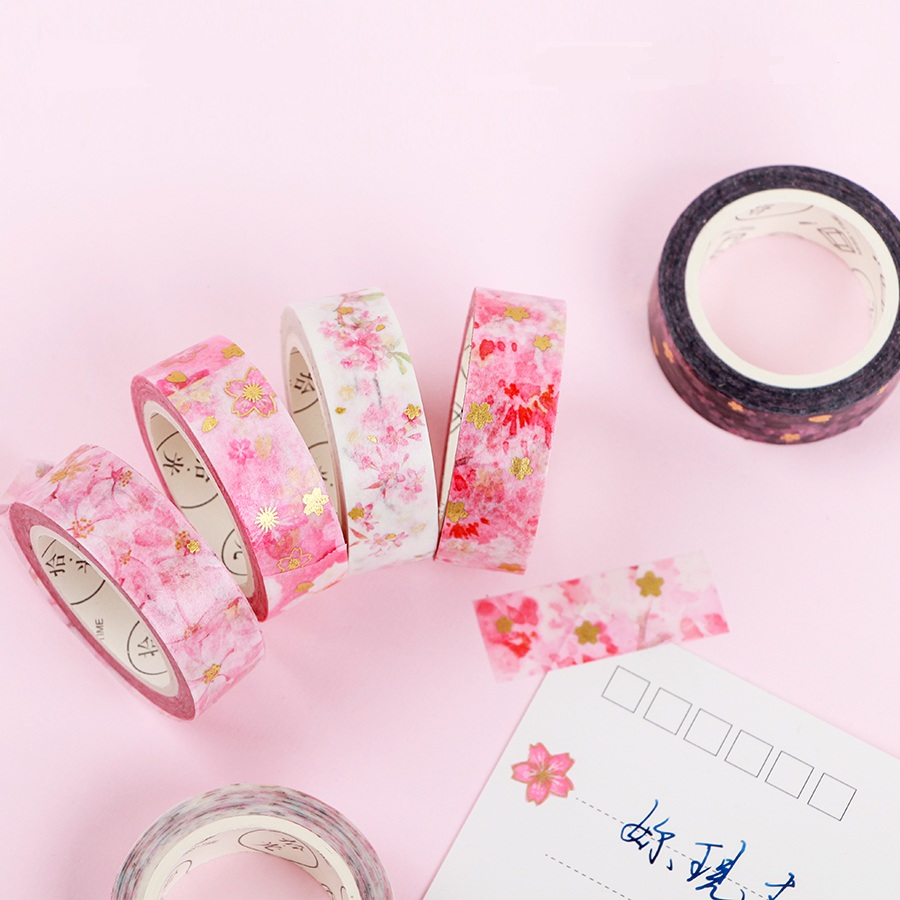 Pink & Gold Sakura Foiled Washi Tape Set DIY Decorative Scrapbooking Masking Tape Adhesive Label Sticker Washitape 18 citis set travel series washi tape set japanese cute masking tape diy post it scrapbooking sticker label gift box set