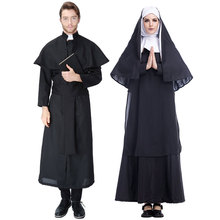 Black Women Nun Virgin Mary Costume Long Dress Christian Clergyman Priest Costumes for Men Adult Fancy Cosplay Clothing