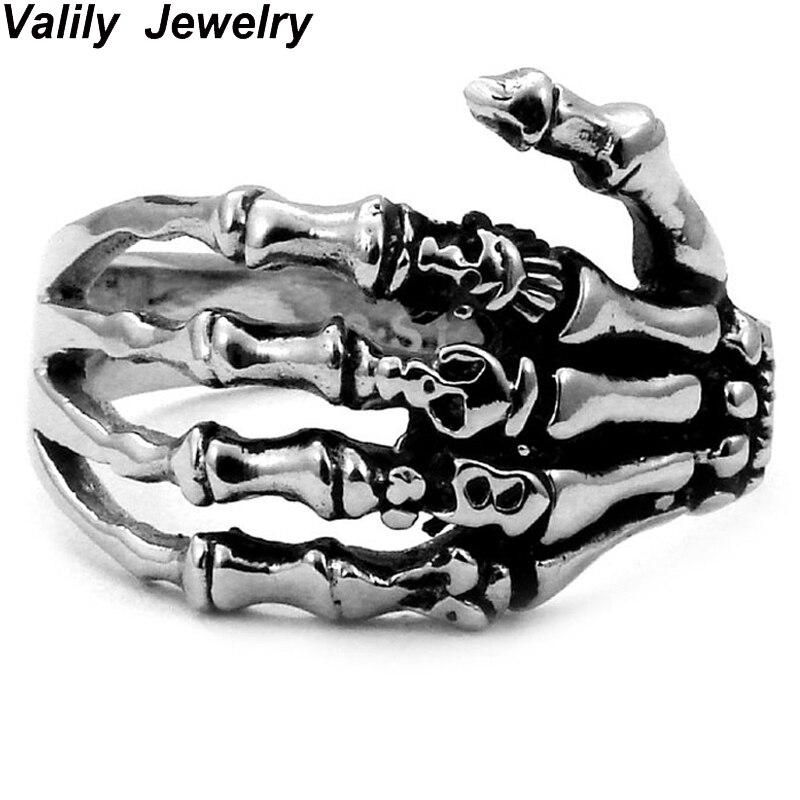 EdgLifU Hommes Anneau noir Vintage Punk Squelette Anneaux en acier Inoxydable Crâne Main Anneau Doigt Os Anneaux pour les Femmes cadeau anneaux