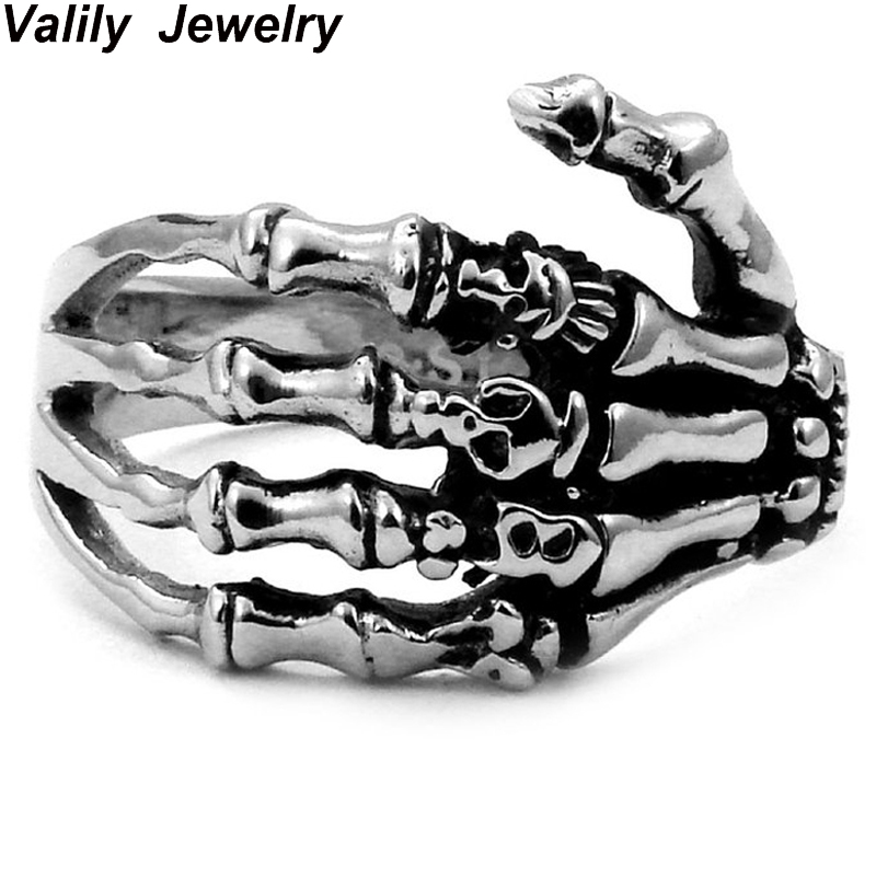 EdgLifU Pria Cincin hitam Vintage Punk Skeleton Rings Stainless steel - Perhiasan fashion - Foto 1