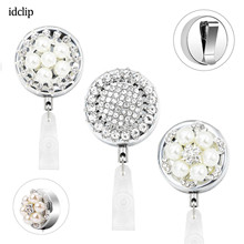idclip Bling Rhinestone Pearl Badge Reel ID Retractable Holder Belt Clips Metal Heavy Duty Steel Wire Cord 3 Pack
