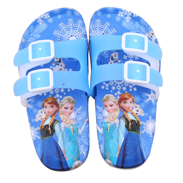 797e4f870862b New 2018 Elsa Summer Child Slippers Girls Princess Shoes Children s Flip  Flops Bathroom Non-slip Flat Sandals with Buckle