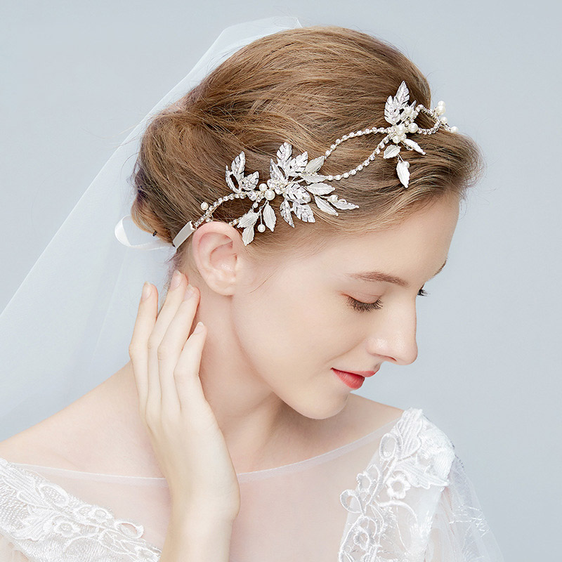 Wedding Hairstyle With Headband: Charm Rhinestone Wedding Hair Ornaments For Bridal White