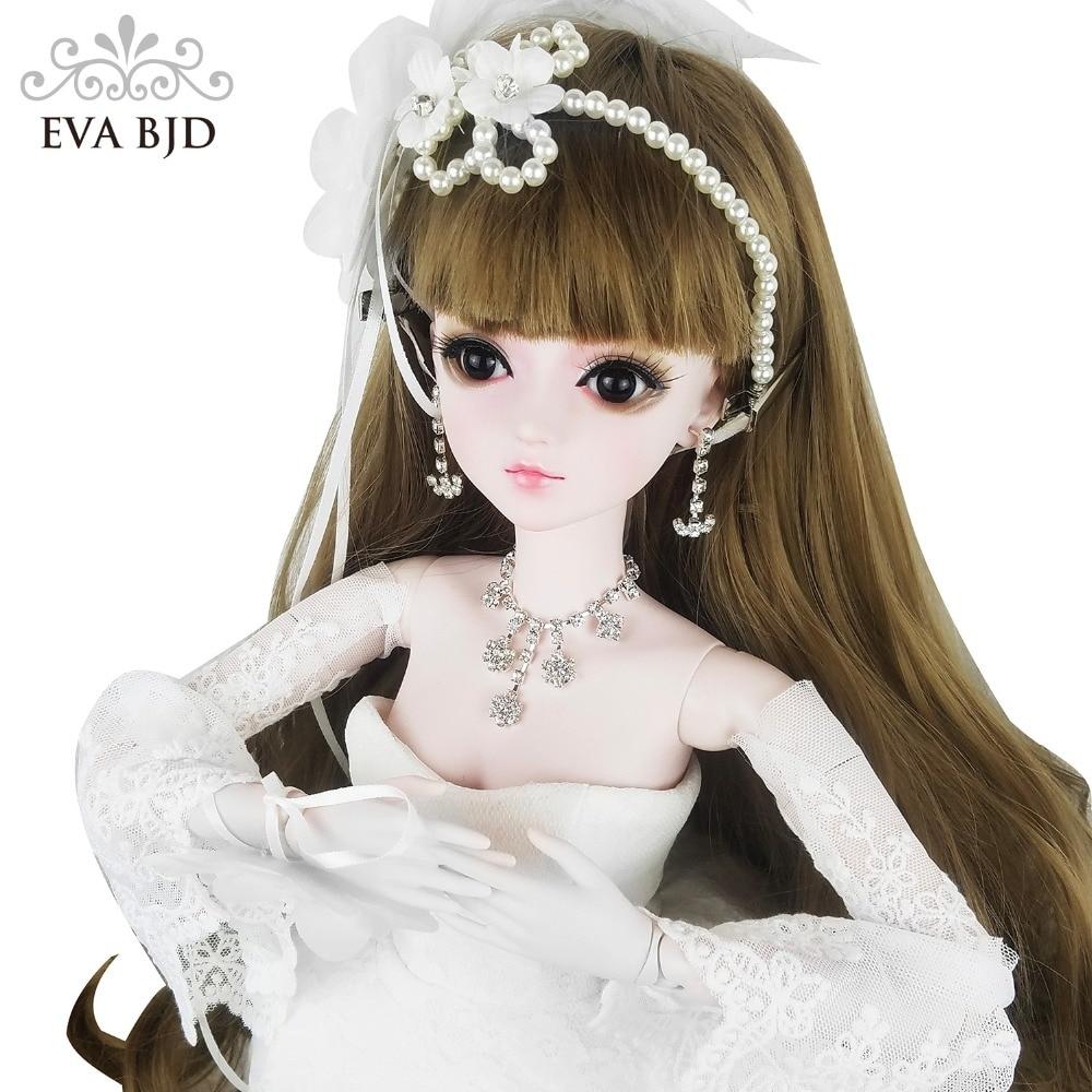 24 BJD Full Set + Makeup Bride EVA BJD Wedding Girl 1/3 60cm SD Doll BJD Doll 24 inch jointed Gift Wedding Toy Model кукла bjd dc doll chateau 6 bjd sd doll zora soom volks