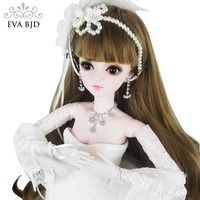 24 BJD полный набор + макияж невесты EVA BJD Свадебная девушка 1/3 60 см SD кукла BJD кукла 24 дюйма шарнирный подарок Свадебная игрушка модель