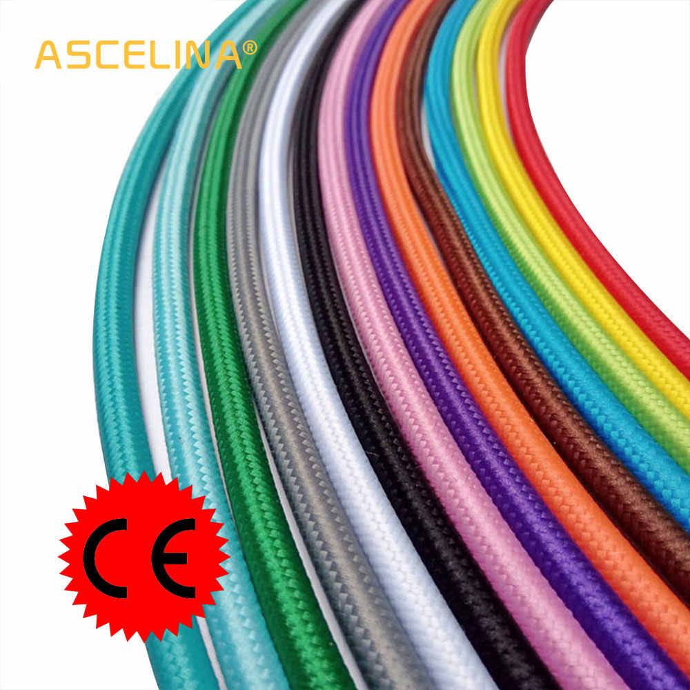 2x0.75 DIY Vintage Color Electrical Cord Twisted Cable Retro Braided Fabric Pendant lamp wire eletrical cable Wholesale Price