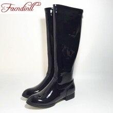 Facndinll Новый высокое качество колено высокие сапоги из лакированной кожи женские кожаные ботинки удобные женские армейские ботинки с высоким голенищем теплые зимние сапоги