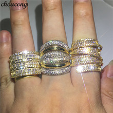 цена на choucong Handmade Big Promise Ring Yellow Gold Filled AAAAA Zircon Anniversary Wedding Band Rings For Women Men Finger Jewelry